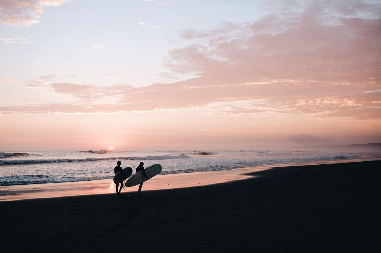 Surfers walking on beach at sunset