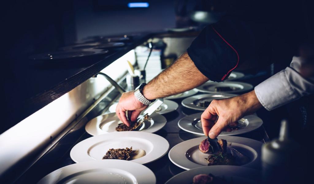 chefs dressing plates